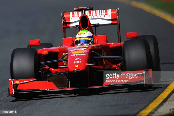 Felipe Massa of Brazil and Ferrari drives during practice for the Australian Formula One Grand Prix at the Albert Park Circuit on March 27 2009 in...