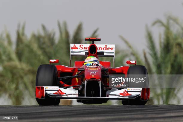 Felipe Massa of Brazil and Ferrari drives during practice for the Bahrain Formula One Grand Prix at the Bahrain International Circuit on March 12,...
