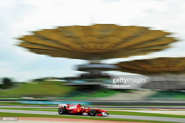 Felipe Massa of Brazil and Ferrari drives during practice for the Malaysian Formula One Grand Prix at the Sepang Circuit on April 2, 2010 in Kuala...