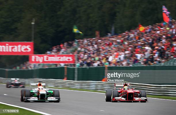 Felipe Massa of Brazil and Ferrari drives during the Belgian Grand Prix at Circuit de SpaFrancorchamps on August 25 2013 in Spa Belgium