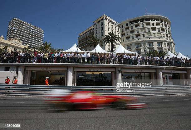 Felipe Massa of Brazil and Ferrari drives during the final practice session prior to qualifying for the Monaco Formula One Grand Prix at the Circuit...
