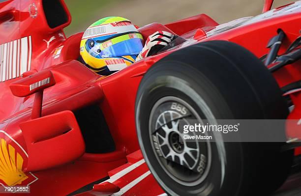 Felipe Massa of Brazil and Ferrari in action during a test at the Circuito de Jerez on January 16 in Jerez de la Frontera Spain