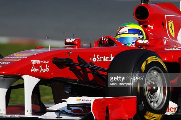 Felipe Massa of Brazil and Ferrari in action during Formula 1 testing at the circuit De Catalunya on February 20, 2011 in Barcelona, Spain.