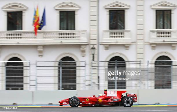 Felipe Massa of Brazil and Ferrari in action during qualifying for the European Formula One Grand Prix at the Valencia Street Circuit on August 23 in...