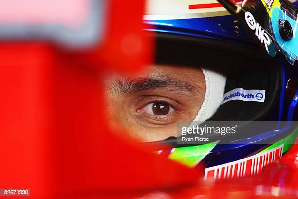 Felipe Massa of Brazil and Ferrari is seen in his garage during practice for the Belgian Grand Prix at the Circuit of Spa Francorchamps on September...
