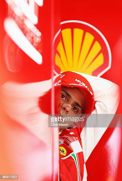 Felipe Massa of Brazil and Ferrari is seen in his team garage during practice for the Bahrain Formula One Grand Prix at the Bahrain International...