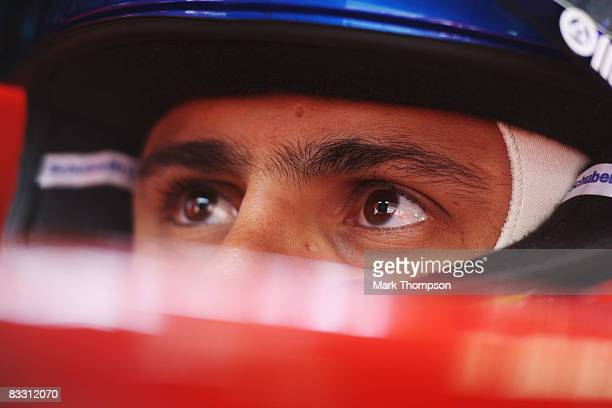 Felipe Massa of Brazil and Ferrari is seen in his team garage during practice for the Chinese Formula One Grand Prix at the Shanghai International...
