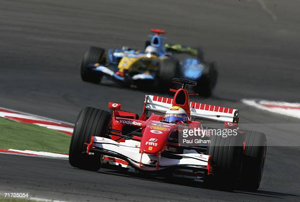 Felipe Massa of Brazil and Ferrari leads Fernando Alonso of Spain and Renault during the Turkish Formula One Grand Prix at Istanbul Park on August 27...