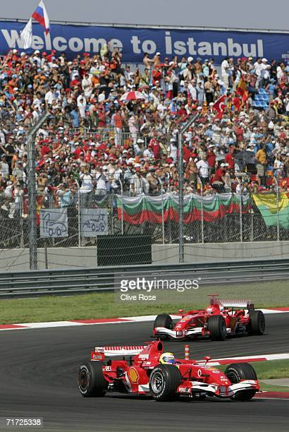Felipe Massa of Brazil and Ferrari leads Michael Schumacher during the Turkish Formula One Grand Prix at Istanbul Park on August 27 2006 in Istanbul...