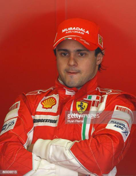 Felipe Massa of Brazil and Ferrari looks on from the pits during day two of Formula One Testing at the Circuit de Catalunya on February 26, 2008 in...
