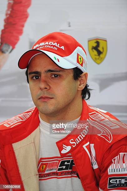 Felipe Massa of Brazil and Ferrari prepares to drive during practice for the Brazilian Formula One Grand Prix at the Interlagos Circuit on November...
