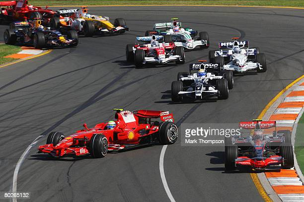 Felipe Massa of Brazil and Ferrari spins and loses position at the start of the Australian Formula One Grand Prix at the Albert Park Circuit on March...