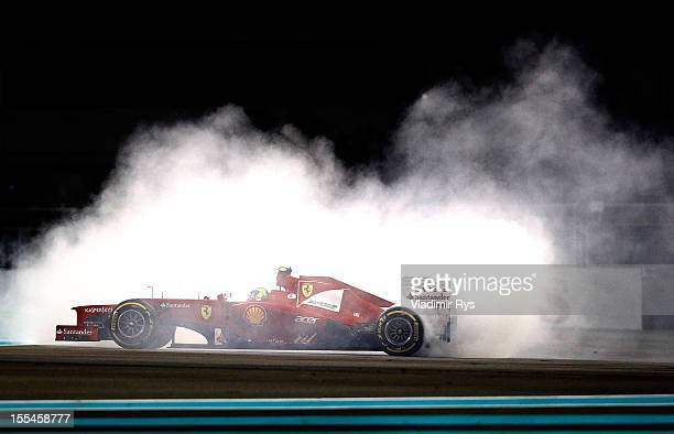 Felipe Massa of Brazil and Ferrari spins during the Abu Dhabi Formula One Grand Prix at the Yas Marina Circuit on November 4, 2012 in Abu Dhabi,...