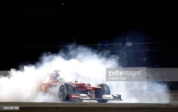 Felipe Massa of Brazil and Ferrari spins during the Abu Dhabi Formula One Grand Prix at the Yas Marina Circuit on November 4 2012 in Abu Dhabi United...