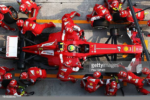 Felipe Massa of Brazil and Ferrari stops for a pitstop during the Malaysian Formula One Grand Prix at the Sepang Circuit on March 24, 2013 in Kuala...