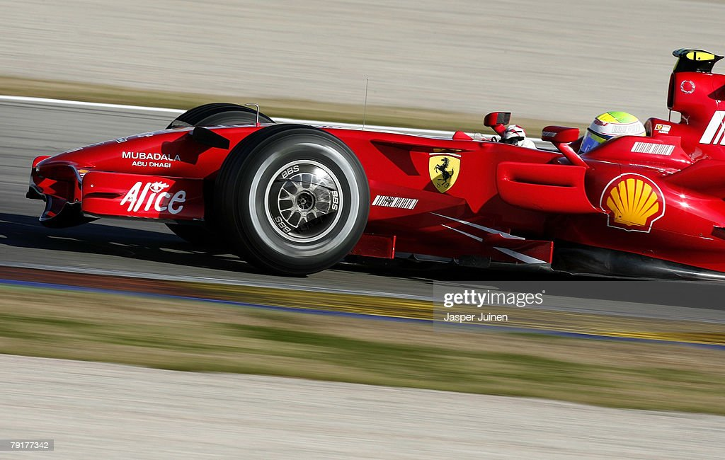 Felipe Massa of Brazil and team Ferrari rounds a curve during Formula one testing at the Ricardo Tormo racetrack on January 23, 2008, in Cheste near Valencia, Spain.