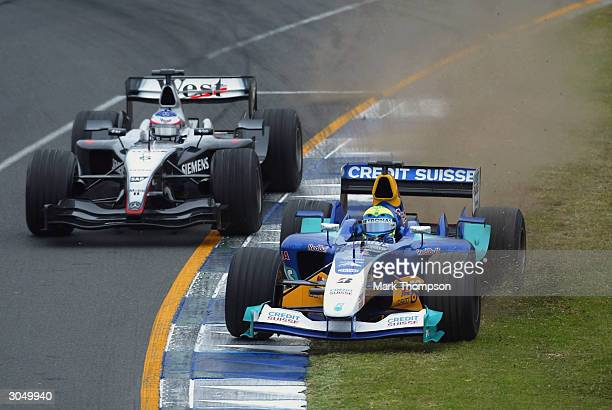 Felipe Massa of Brazil and team Sauber goes of the track during the 2004 Australian Grand Prix which is round one of the FIA Formula One World...