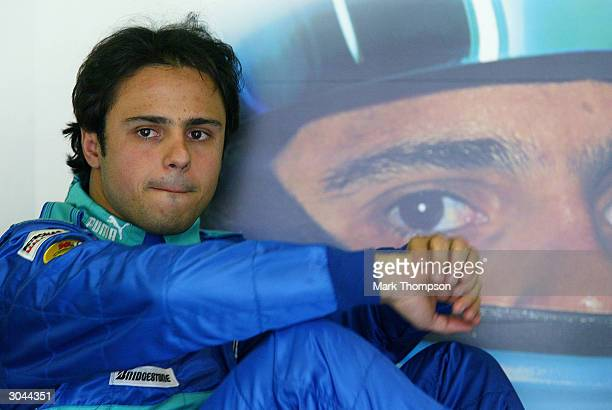 Felipe Massa of Brazil and the Sauber Petronas Formula One Team in the pits during practice for the 2004 Australian Grand Prix which which is round...