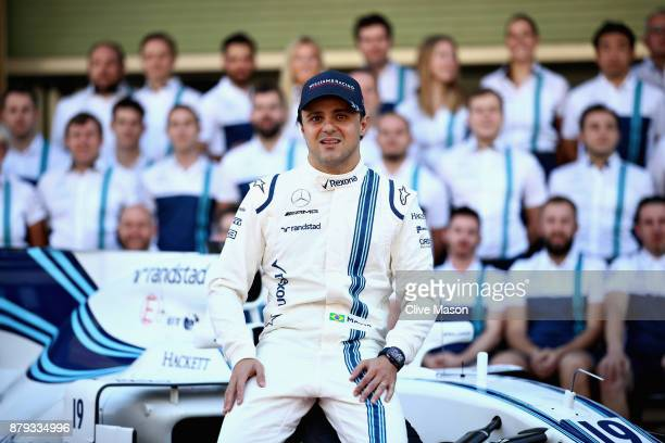 Felipe Massa of Brazil and Williams at the Williams team photo before the Abu Dhabi Formula One Grand Prix at Yas Marina Circuit on November 26 2017...
