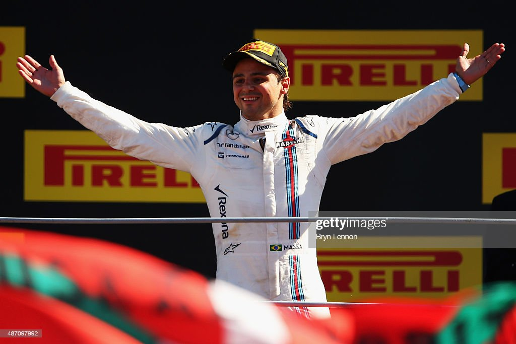 Felipe Massa of Brazil and Williams celebrates on the podium after finishing third in the Formula One Grand Prix of Italy at Autodromo di Monza on September 6, 2015 in Monza, Italy.