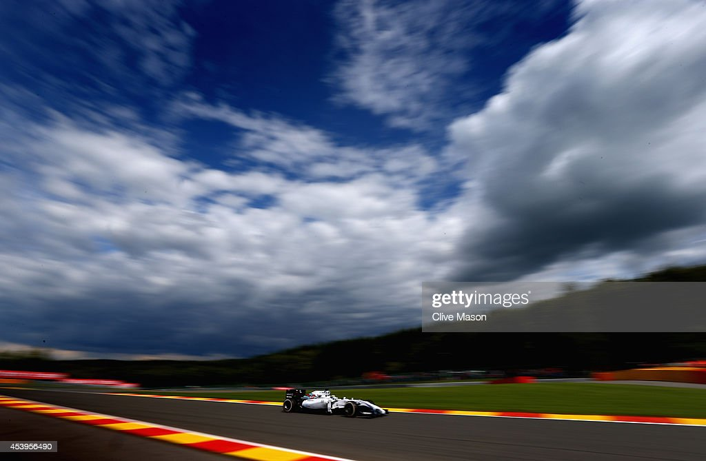 Felipe Massa of Brazil and Williams drives during practice ahead of the Belgian Grand Prix at Circuit de Spa-Francorchamps on August 22, 2014 in Spa, Belgium.