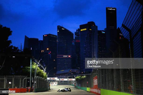 Felipe Massa of Brazil and Williams drives during practice ahead of the Singapore Formula One Grand Prix at Marina Bay Street Circuit on September...