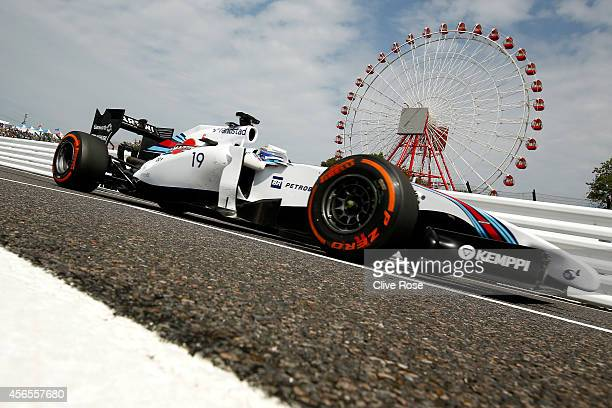 Felipe Massa of Brazil and Williams drives during practice for the Japanese Formula One Grand Prix at Suzuka Circuit on October 3, 2014 in Suzuka,...