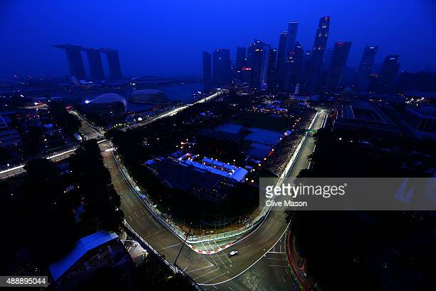 Felipe Massa of Brazil and Williams drives during practice for the Formula One Grand Prix of Singapore at Marina Bay Street Circuit on September 18...