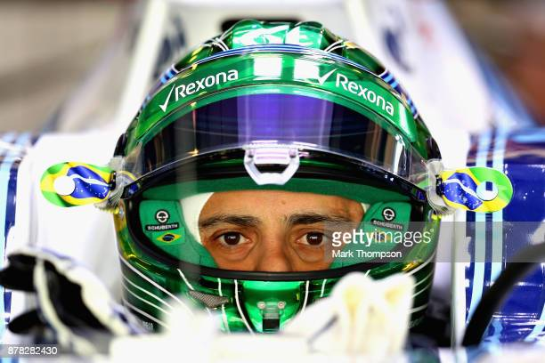 Felipe Massa of Brazil and Williams prepares to drive in the garage during practice for the Abu Dhabi Formula One Grand Prix at Yas Marina Circuit on...
