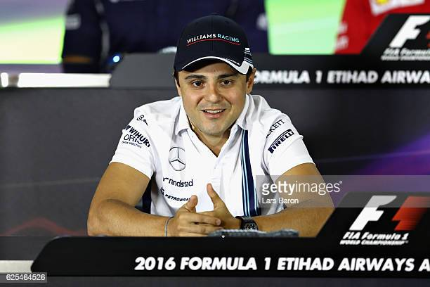 Felipe Massa of Brazil and Williams talks in the Drivers Press Conference ahead of his final F1 race during previews for the Abu Dhabi Formula One...