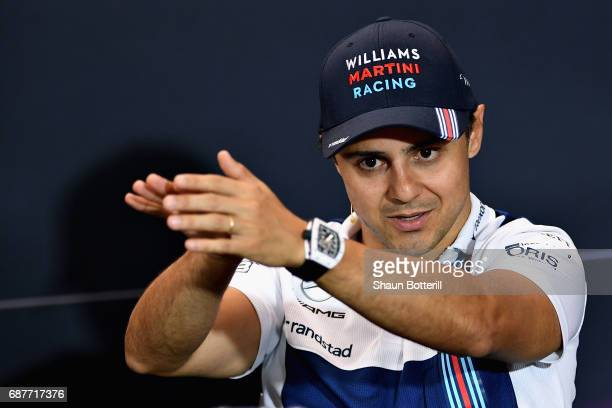 Felipe Massa of Brazil and Williams talks in the Drivers Press Conference during previews for the Monaco Formula One Grand Prix at Circuit de Monaco...