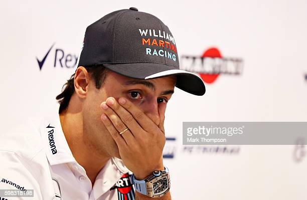 Felipe Massa of Brazil and Williams talks to the media in a press conference to announce his retirement from Formula 1 at the end of the 2016 season...