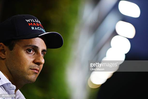 Felipe Massa of Brazil and Williams talks to the media in the Paddock during previews ahead of the Formula One Grand Prix of Singapore at Marina Bay...