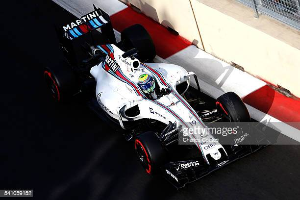 Felipe Massa of Brazil driving the Williams Martini Racing Williams FW38 Mercedes PU106C Hybrid turbo on track during qualifying for the European...