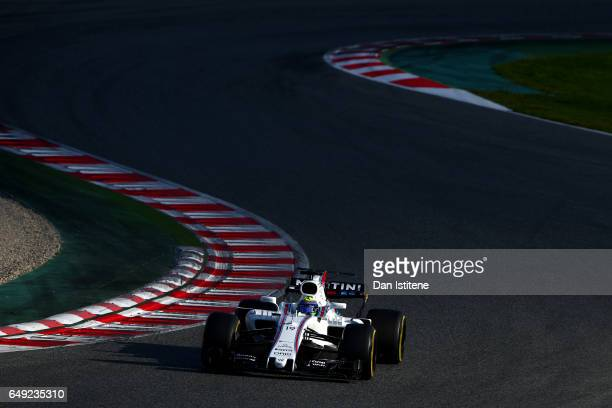 Felipe Massa of Brazil driving the Williams Martini Racing Williams FW40 Mercedes on track during day one of Formula One winter testing at Circuit de...