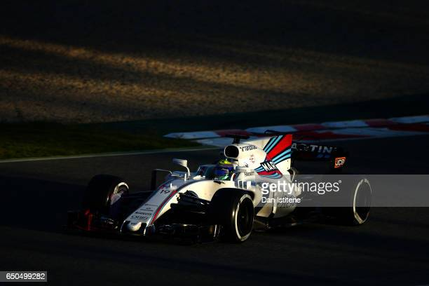 Felipe Massa of Brazil driving the Williams Martini Racing Williams FW40 Mercedes on track during day three of Formula One winter testing at Circuit...