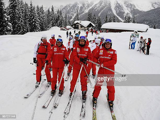 Felipe Massa of Brazil, Fernando Alonso of Spain and Giancarlo Fisichella of Italy and Ferrari are seen skiing during the Wroom 2010 on January 12,...