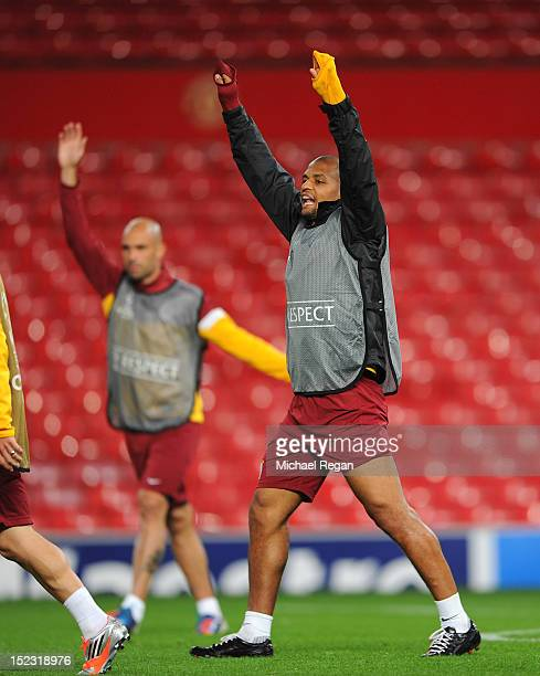 Felipe Melo gestures during the Galatasaray training session ahead of their UEFA Champions League group stage match against Manchester United at Old...