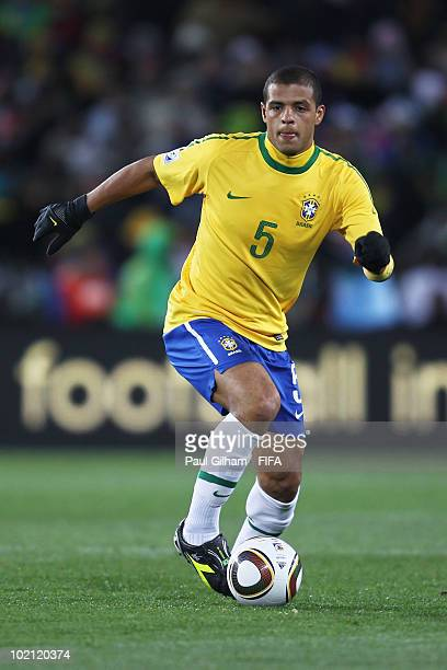 Felipe Melo of Brazil runs with the ball during the 2010 FIFA World Cup South Africa Group G match between Brazil and North Korea at Ellis Park...