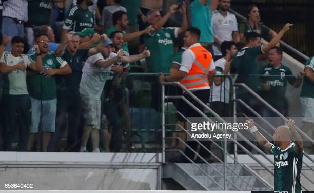 Felipe Melo of Brazil's Palmeiras celebrates after Yerry Mina goal scored against Bolivia's Jorge Wilstermann during their 2017 Copa Libertadores...