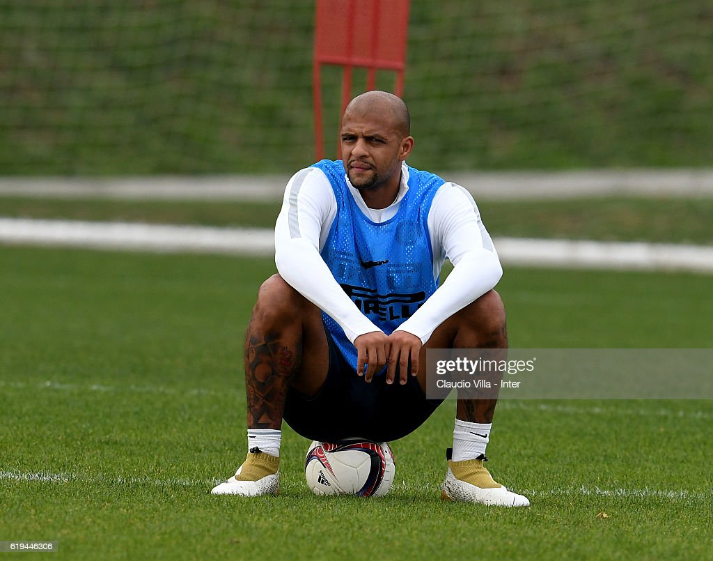 Felipe Melo of FC Internazionale looks on during the FC Internazionale training session at the club's training ground at Appiano Gentile on October 31, 2016 in Como, Italy.