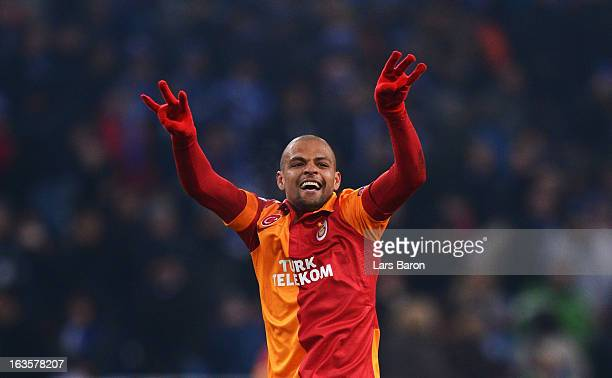 Felipe Melo of Galatasaray celebrates after the UEFA Champions League round of 16 second leg match between FC Schalke 04 and Galatasaray AS at...