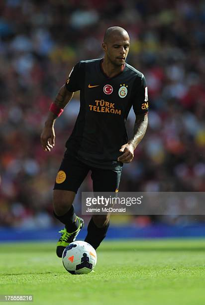 Felipe Melo of Galatasaray in action during the Emirates Cup match between Arsenal and Galatasaray at the Emirates Stadium on August 4 2013 in London...