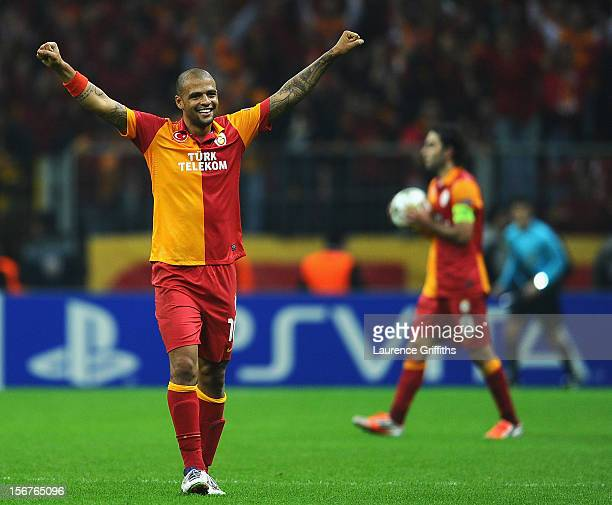 Felipe Melo of Galatasary celebrates victory in the UEFA Champions League Group H match between Galatasaray and Manchester United at the Turk Telekom...