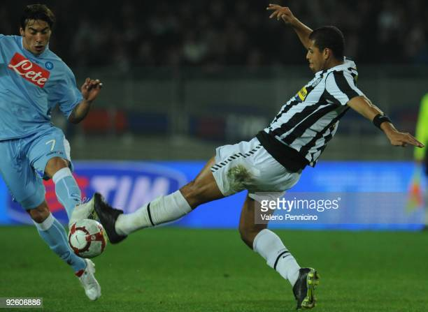 Felipe Melo of Juventus FC battles for the ball with Ezequiel Ivan Lavezzi of SSC Napoli during the Serie A match between Juventus FC and SSC Napoli...