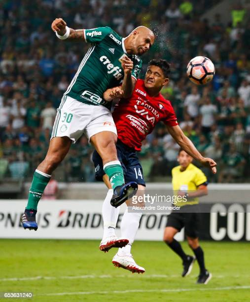 Felipe Melo of Palmeiras and Jorge Ortiz of Jorge Wiltersmann in action during the match between Palmeiras of Brazil and Jorge Wiltersmann of Bolivia...