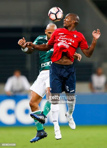 Felipe Melo of Palmeiras and Omar Morales of Jorge Wiltersmann in action during the match between Palmeiras of Brazil and Jorge Wiltersmann of...