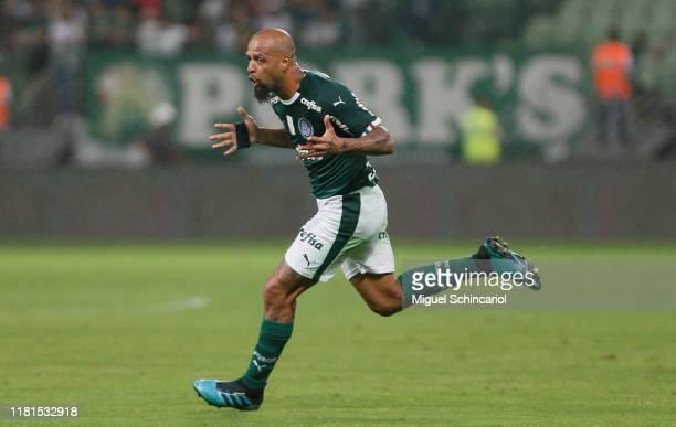 Felipe Melo of Palmeiras celebrates after scoring his team's first goal during a match between Palmeiras and Chapecoense for the Brasileirao Series A...