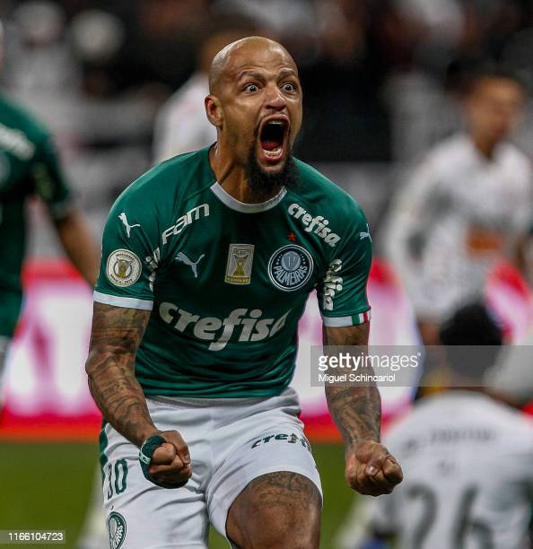 Felipe Melo of Palmeiras celebrates after scoring the first goal of his team during a match between Corinthians and Palmeiras for the Brasileirao...