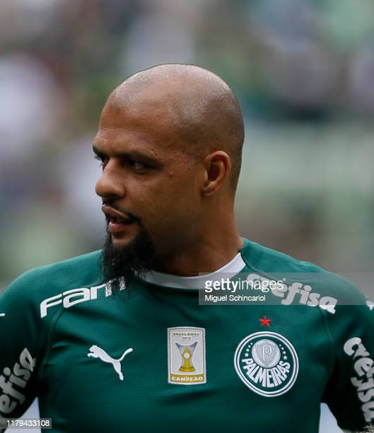 Felipe Melo of Palmeiras looks on prior to a match between Palmeiras and Atletico MG for the Brasileirao Series A 2019 at Allianz Parque on October...